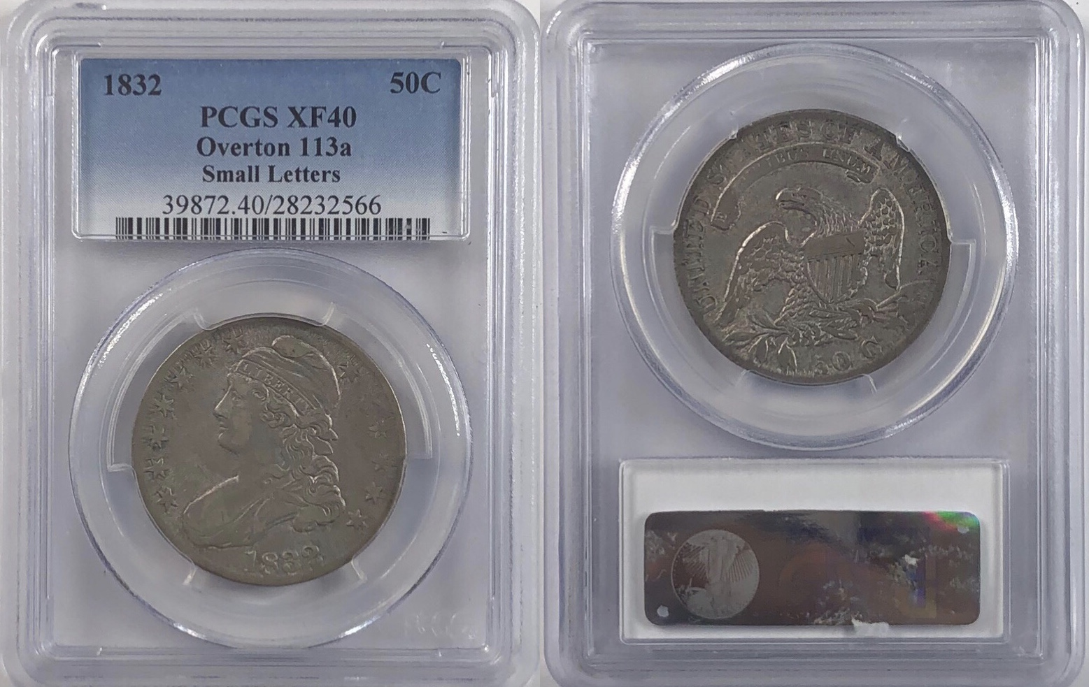 1832 50 162 Capped Bust Half Dollar Pcgs Xf 40 Overton 113a