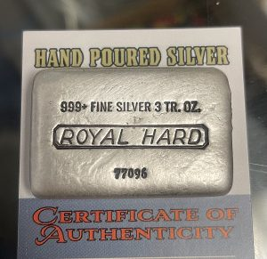 Hand Poured ROYAL HARD Silver Bar 3oz .999 Fine