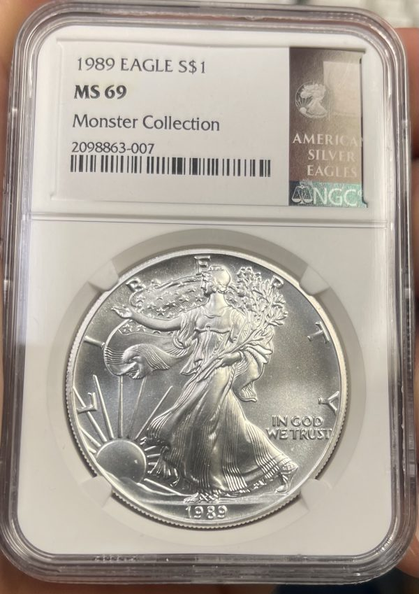1989 American Silver Eagle NGC Certified MS 69n - Monster Collection