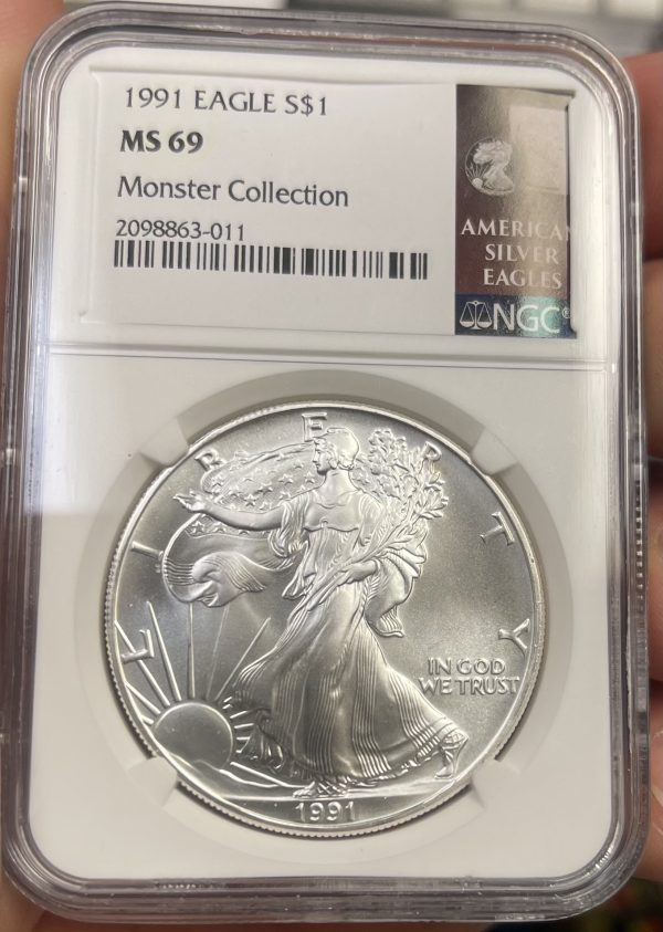 1991 American Silver Eagle NGC Certified MS 69 - Monster Collection
