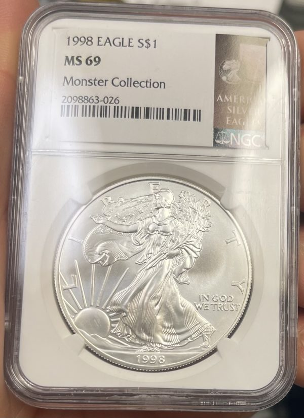 1998 American Silver Eagle NGC Certified MS 69 - Monster Collection