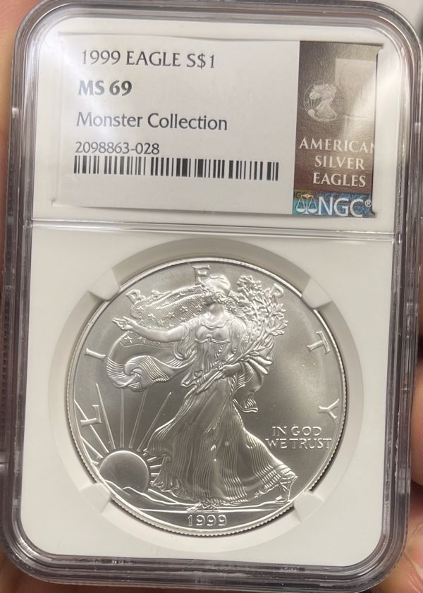 1999 American Silver Eagle NGC Certified MS 69 - Monster Collection