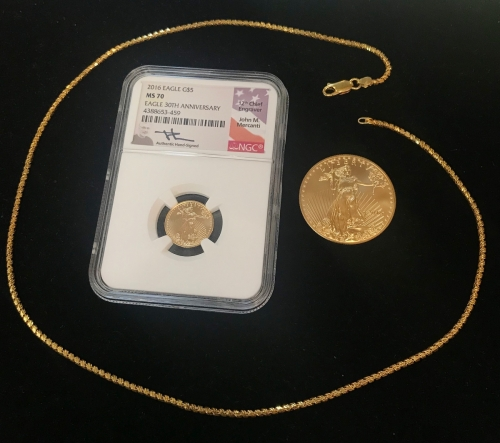 2016 American Gold Eagle NGC Certified MS 70 1oz Gold Eagle Gold Necklace Chain Jewelry