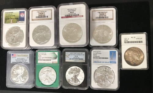 American Silver Eagle Bullion Coins NGC Certified MS 70 1921 Peace Silver Dollar ANACS Certified