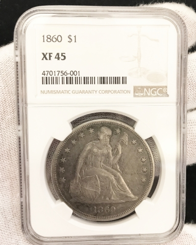 1860 Seated Silver Dollar NGC Certified XF 45
