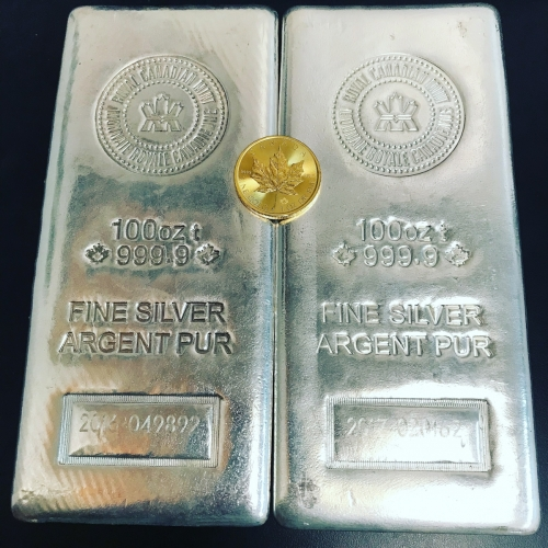 Two 100 oz RCM Royal Canadian Mint Silver Bullion Bars With 1 oz Gold Maple Leaf Coin