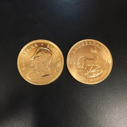 Two 1 oz South Africa Gold Krugerrand Bullion Coins