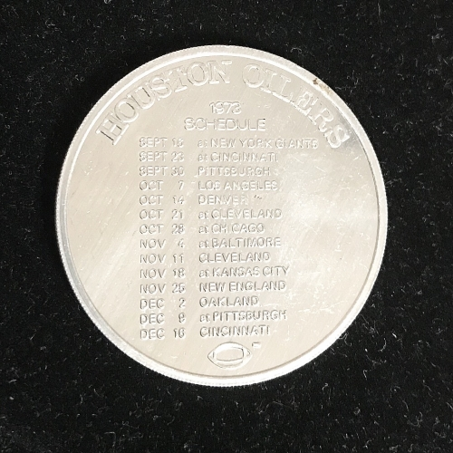 Houston Oilers 1973 Schedule Coin