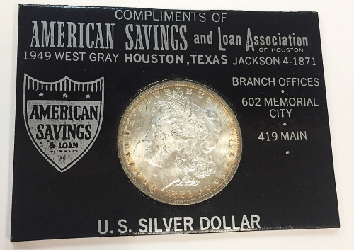 1883 Morgan Silver Dollar Gift From America Savings and Loan Bank Houston Texas