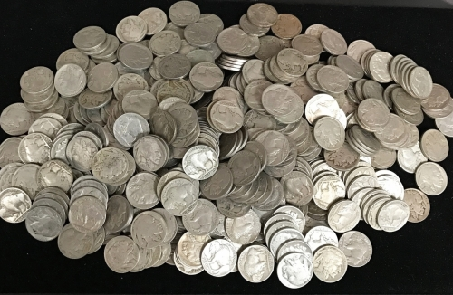 Large Collection Of Buffalo Nickels