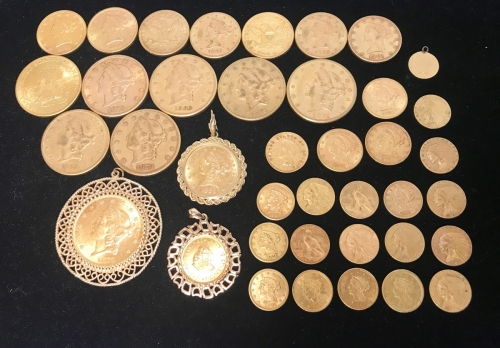 Collection Of Pre 1933 United States Gold Bullion Coins $20 Liberty $10 Liberty $5 Liberty $5 Indian $2.5 Liberty $2.5 Indian