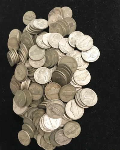 Large Pile Of Silver War Nickels