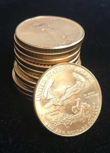 Stacking 1 oz American Gold Eagle Bullion Coins