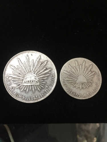 Old Mexico 8 & 4 Reales Silver Coins 1894 1857