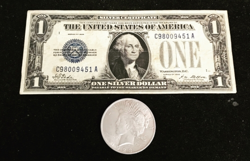 1928 $1 Silver Certificate With 1923 Peace Silver Dollar Coin